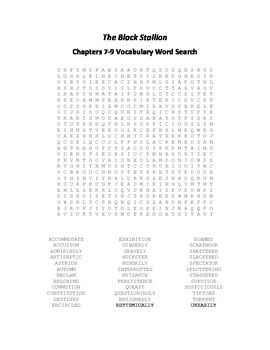 The Black Stallion Chapters 7-9 Vocabulary Word Search - Farley