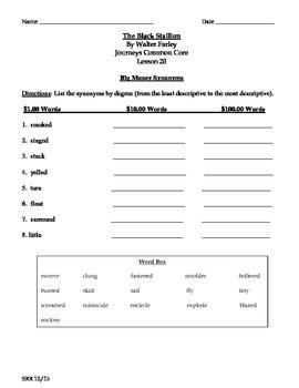 Journeys Common Core 5th - The Black Stallion Supplemental Packet for the SLP
