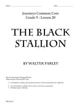 Journeys Common Core 5th - The Black Stallion Supplemental