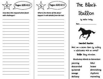 The Black Stallion Trifold - Journeys 5th Grade Unit 4 Week 5 (2014, 2017)