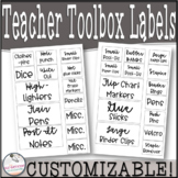 The Black and White Theme Teacher Toolbox Labels (33 piece