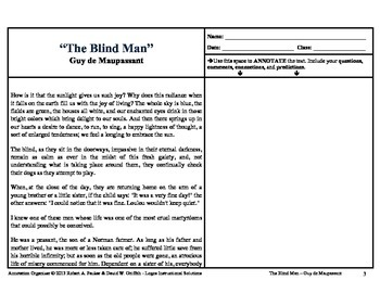 """The Blind Man"" by Guy de Maupassant: Annotation Organizer"