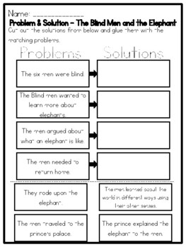 The Blind Men And The Elephant Problem Solution Worksheet Tpt