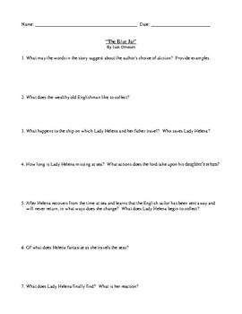 The Blue Jar by Isak Dinesen: Assessment, Worksheet, or Homework with Answer Key
