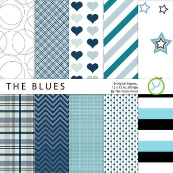 """""""The Blues"""" Assorted Patterns: 10 Digital Papers"""