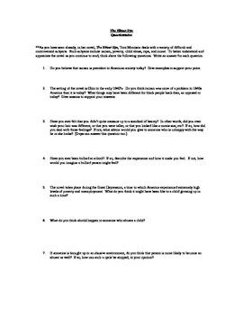 The Bluest Eye Pre-Reading Questionnaire