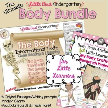 The Body Bundle for Little Learners Anchor Charts & Informational Text Passages