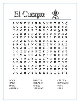 El Cuerpo-Label Skeleton & Word Search/Puzzle-Spanish Body Parts