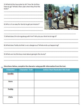 The Body (Stand By Me) - Reading Guide, Comprehension Questions and Activities