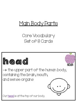 The Body Themed Vocabulary Cards