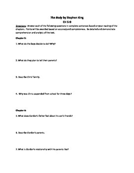 The Body by Stephen King Study and Discussion Questions