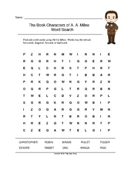 The Book Characters of A. A. Milne Word Search (Grades 2-5)