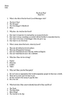 Level 3 questions for the book thief