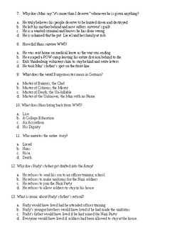 The Book Thief 20 Multiple Choice Question Final Test- answer key included.
