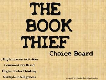 The Book Thief Choice Board Tic Tac Toe Novel Activities Menu Assessment