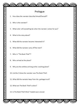 The Book Thief-Comprehension questions and answers for entire novel