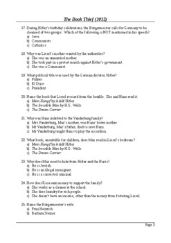 The Book Thief Movie - 50 Question Multiple Choice Quiz / Final Assessment
