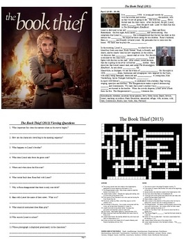 The Book Thief Movie Study Guide - Active Learning Tasks Bundle