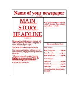 The Book Thief: Newspaper Article Assignment
