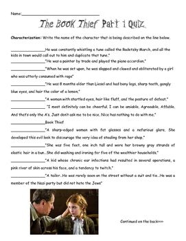 The Book Thief Part 1 Characters and Figurative Language Quiz