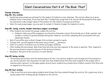 The Book Thief Part 4 Silent Conversations Activity