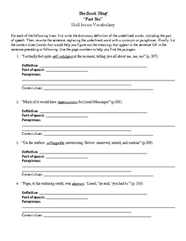 The Book Thief Part Six Vocabulary Worksheet