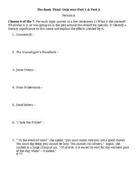 The Book Thief Unit Quizzes