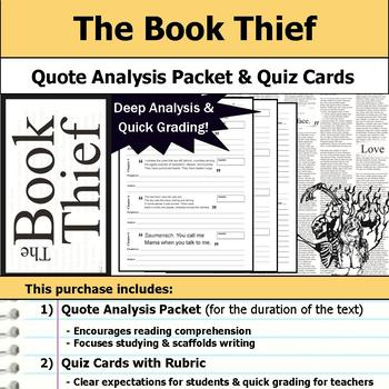 The Book Thief - Quote Analysis & Reading Quizzes