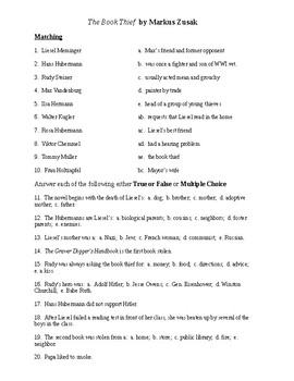 The Book Thief Reading Check Test/Quiz