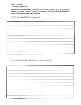 The Book Thief STAAR Single Short Answer Response Practice