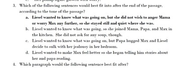 The Book Thief Standardized Test Practice on Tone and Mood in Pt. 4