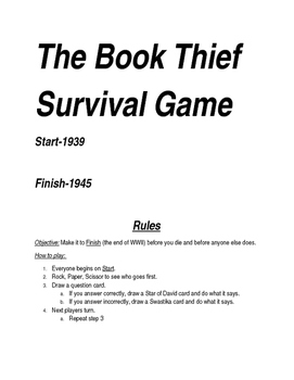 The Book Thief Survival Game