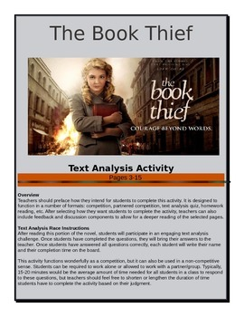 The Book Thief - Text Analysis Race - Pages 3-15 - Common Core Aligned