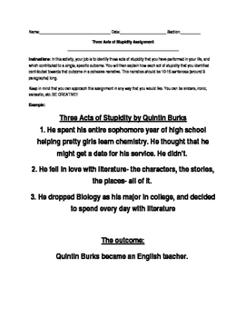 The Book Thief: Three Acts of Stupidity Creative Write