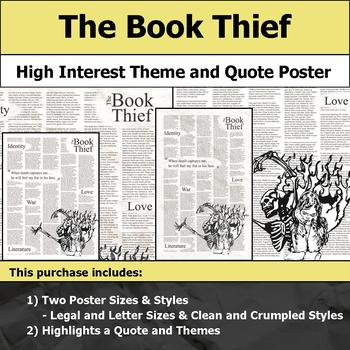 The Book Thief - Visual Theme and Quote Poster for Bulletin Boards