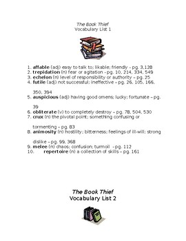 The Book Thief Vocabulary Lists and Quizzes