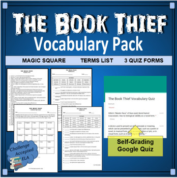 The Book Thief Vocabulary Pack (Self-Grading Quiz and Magic Square Intro)