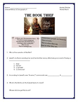 The Book Thief- WWII Video Guide