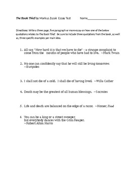 book thief by markus zusak question objective test and essay test the book thief by markus zusak 50 question objective test and essay test