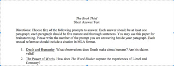 The Book Thief short answer test