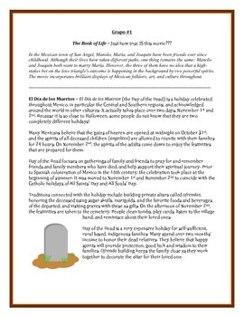 The Book of Life - How true IS this movie? A Post-Viewing Reading Activity