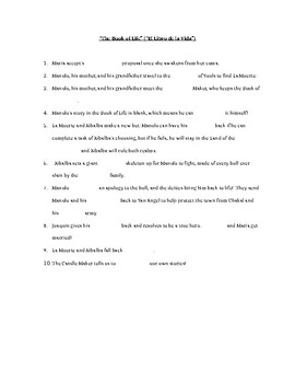 The Book of Life Part 2 Worksheet