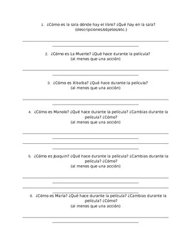 The  Book of Life: Questions and Activity Packet (Spanish Version)