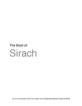 The Book of Sirach
