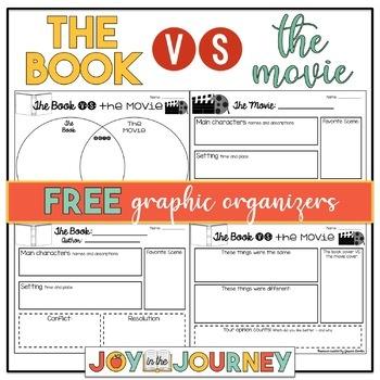 FREE The Book vs. The Movie Graphic Organizers