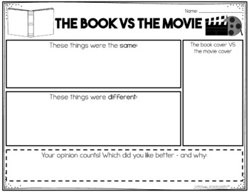 Matilda movie vs book venn diagram diy wiring diagrams free the book vs the movie graphic organizers tpt rh teacherspayteachers com movie vs book comparison chart books vs movies venn diagrams of geronimo ccuart Choice Image