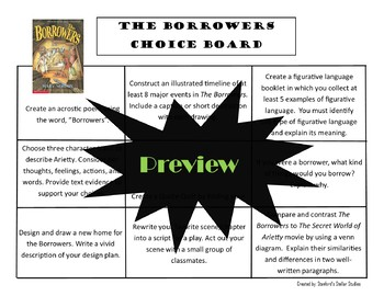 The Borrowers Choice Board Novel Study Activities Menu Book Project Rubric