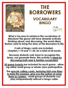 The Borrowers Vocabulary Bingo