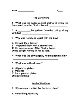 The Borrowers and Lord of the Fleas Comprehension Question