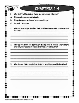 The Borrowers ( by Mary Norton) Novel Comprehension and Vocabulary Packet